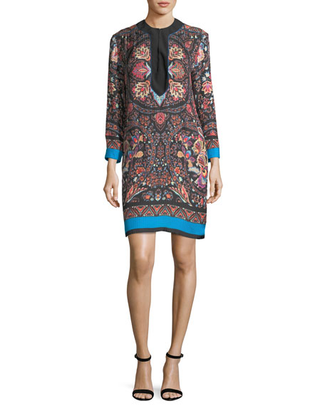 Etro Lily Floral-Print Split-Neck Shift Dress