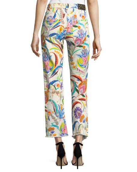 Floral-Print Raw-Hem Jeans