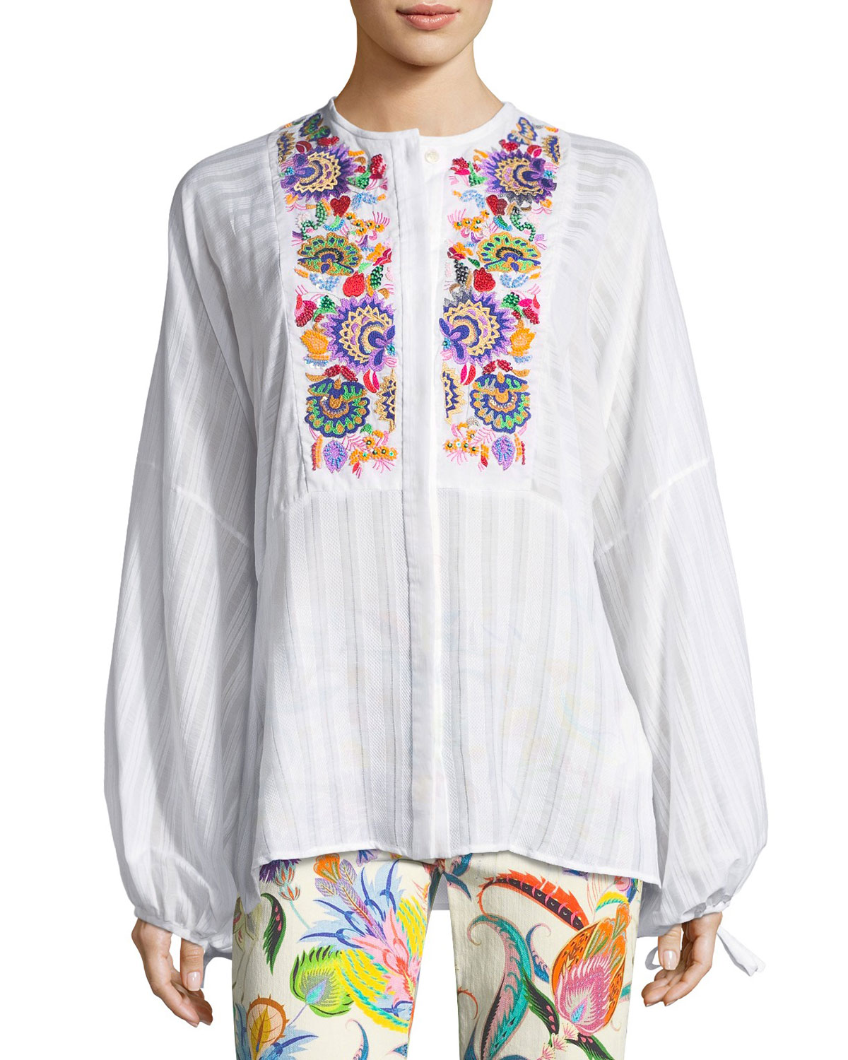 Etro Cotton Peasant Blouse With Multi Embroidery Neiman Marcus