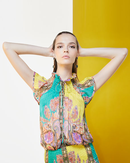Paisley-Print Neckline with Smocked Detail