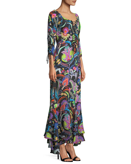 Multicolor Floral-Print Lace-Up Silk-Blend Gown w/ Tiered Hem