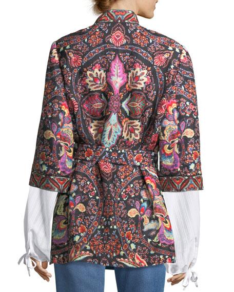 Lily Paisley Open Caban Jacket
