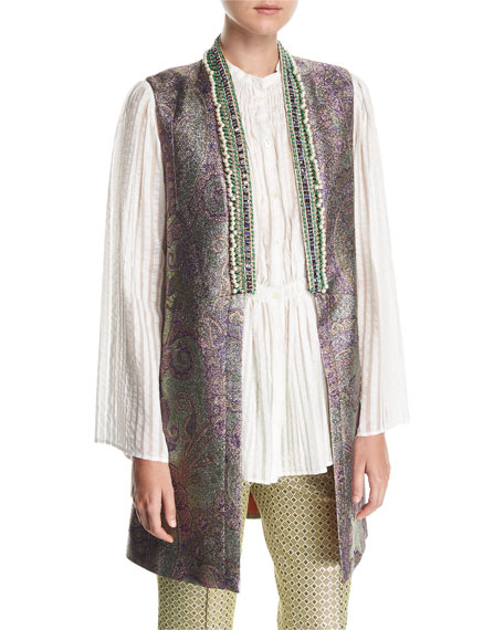 Beaded-Trim Long Metallic Vest