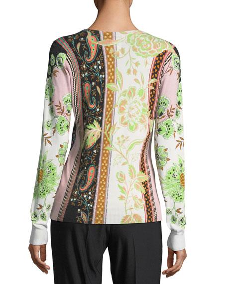 Pillar-Print V-Neck Sweater
