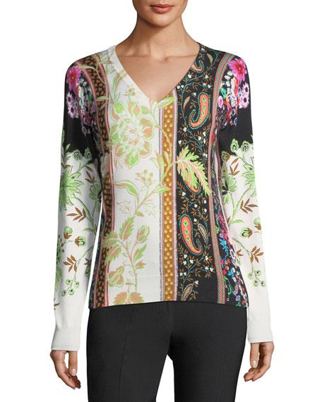 Etro Pillar-Print V-Neck Sweater