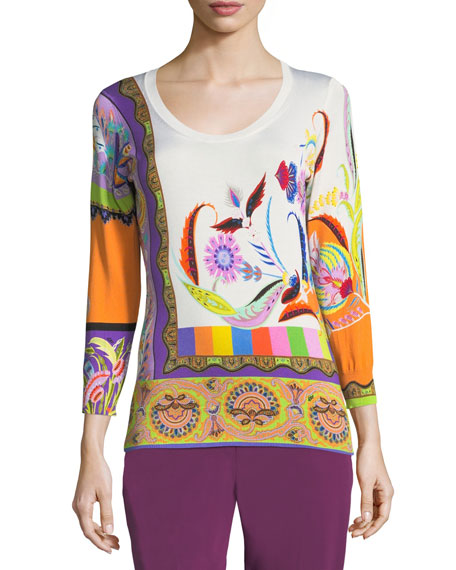Psychedelic Paisley Stretch-Silk Sweater