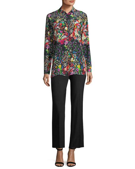 Micro Floral Long-Sleeve Silk Shirt
