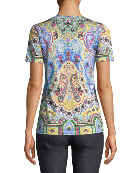 Short-Sleeve V-Neck Paisley Printed T-Shirt