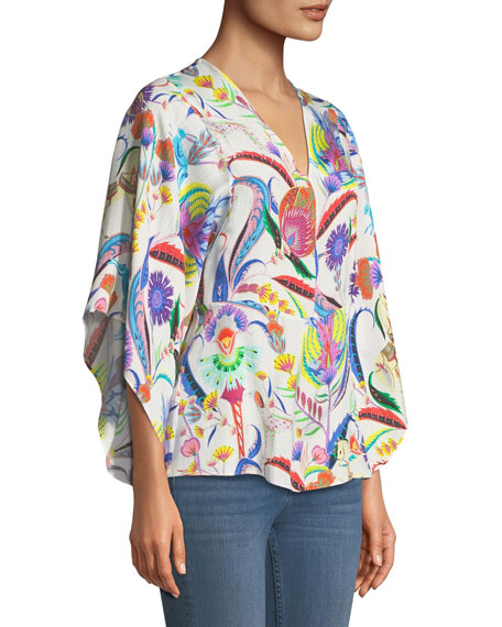 Psychedelic-Print Chevron Textured Blouse