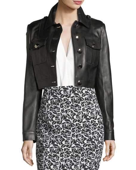 Michael Kors Collection Button-Front Cropped Plongé Leather