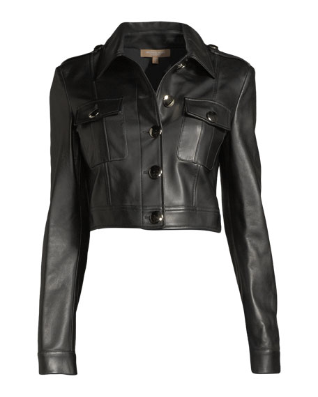 Button-Front Cropped Plongé Leather Jacket