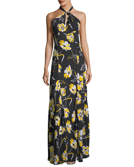 Michael Kors Collection Floral-Print Halter-Neck Georgette Column