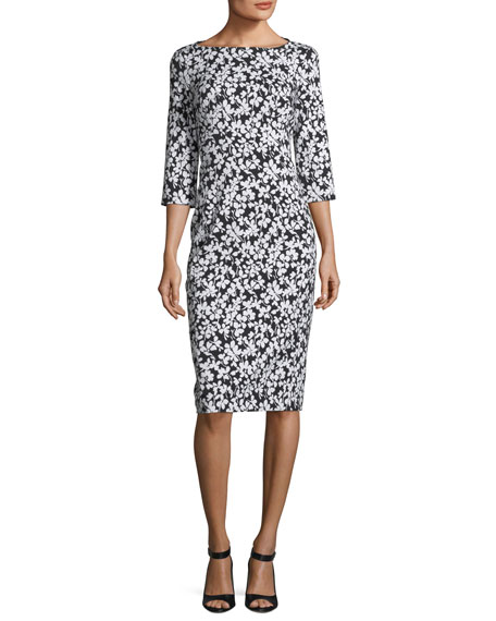 Boat Neck Floral Print Stretch Jacquard Sheath Dress by Michael Kors Collection