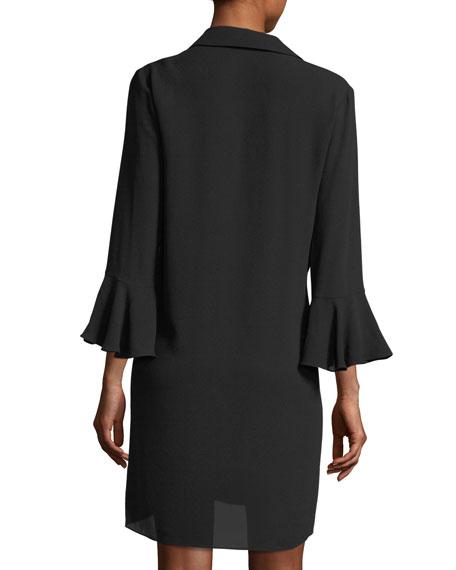 Lace-Front Long-Sleeve Silk Georgette Mini Dress