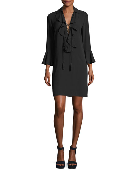Michael Kors Collection Lace-Front Long-Sleeve Silk Georgette