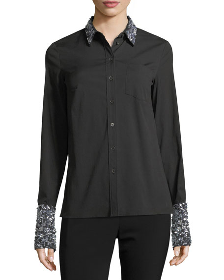 Michael Kors Collection Sequined French-Cuff Shirt