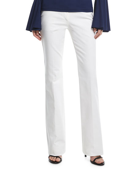 Mid-Rise Flared Stretch-Cotton Pants