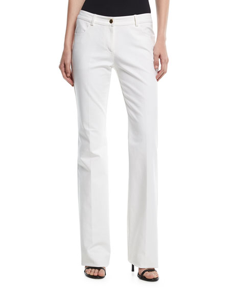 Michael Kors Collection Mid-Rise Flared Stretch-Cotton Pants