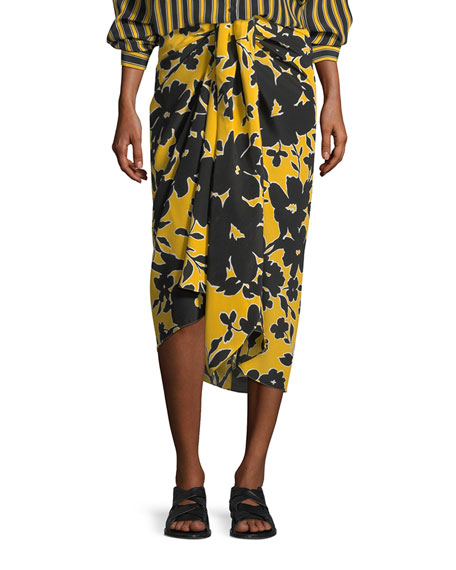 Michael Kors Collection Tropical Floral-Print Sarong Skirt