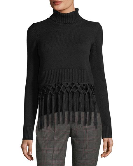 Tassel-Trim Cashmere Turtleneck Sweater