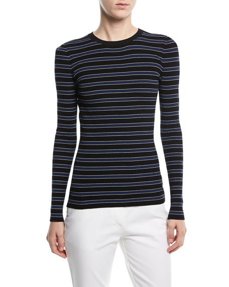 Long-Sleeve Crewneck Striped Rib-Knit Sweater