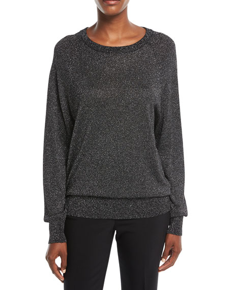 Michael Kors Collection Raglan Long-Sleeve Crewneck Metallic