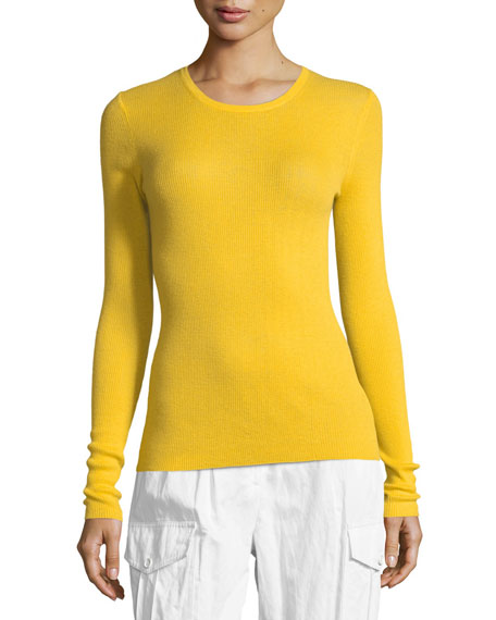 Michael Kors Collection Crewneck Long-Sleeve Ribbed Cashmere Top