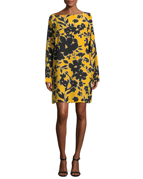 Bateau-Neck Tropical Floral-Print Silk Dress