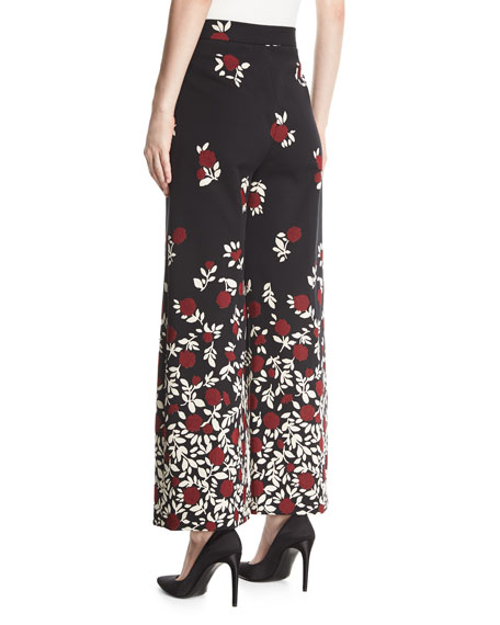 Wide-Leg Degradé Floral Pants