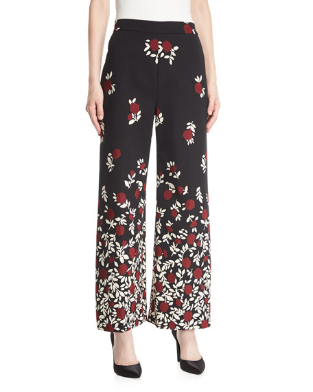 Wide-Leg Degradé Floral Pants
