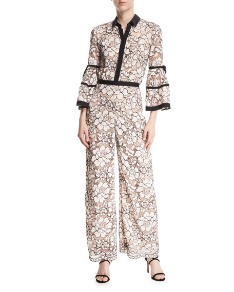 Full-Sleeve Piped Lace Jumpsuit