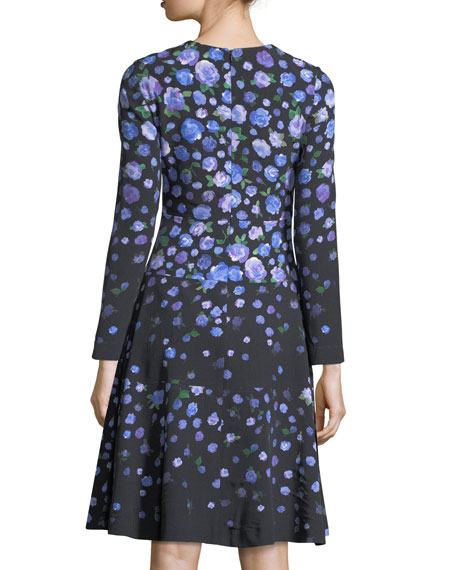 Long-Sleeve Degradé Floral Dress