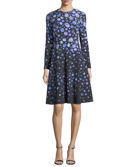 Long-Sleeve Degradé Floral Dress