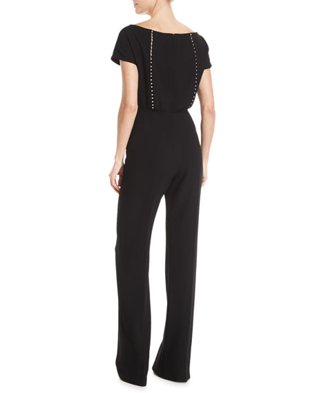 Pearly Beaded Blouson Jumpsuit