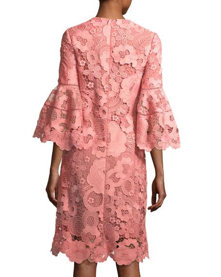 Lace Flounce-Sleeve Tunic Dress