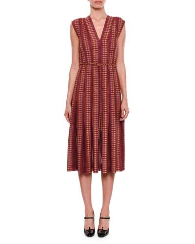 Cap-Sleeve Chenille Knit Dress