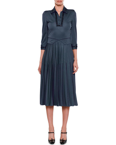 Bottega Veneta Beaded Collared 3/4-Sleeve Pullover Dress with