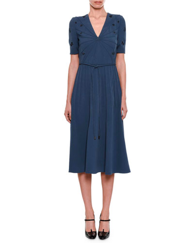V-Neck Short-Sleeve Pintucked Embroidered Dress with Rope Belt
