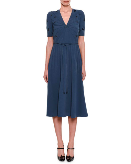 V-Neck Short-Sleeve Pintucked Embroidered Dress w/ Rope Belt
