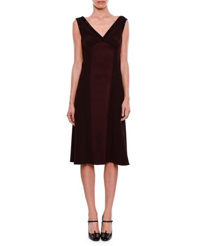 Deep-V Sleeveless A-Line Satin-Finish Cocktail Dress w/ Crystal Beading