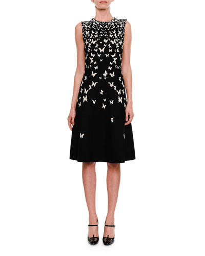 High-Neck Sleeveless A-Line Dress with Butterfly Jacquard