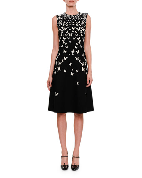 Bottega Veneta High-Neck Sleeveless A-Line Dress with Butterfly