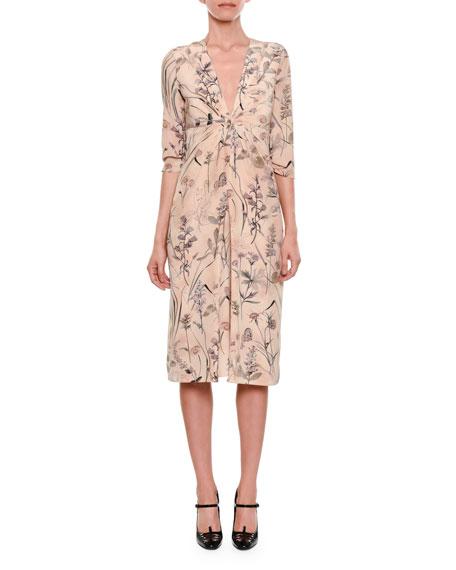Botanical-Print Long-Sleeve Gathered-Waist Silk Dress