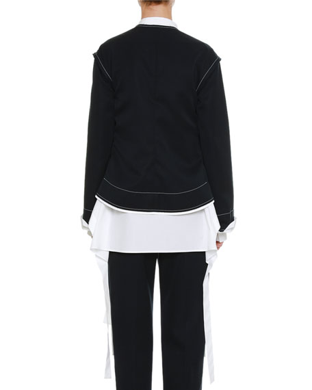 Round-Neck Open-Front Wool Coat with Contrast Topstitching