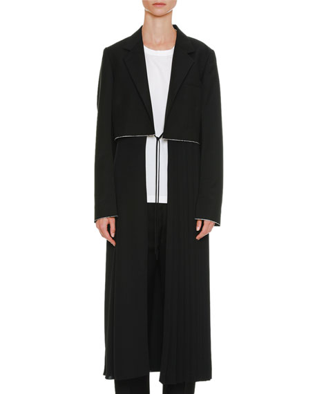 Jil Sander Belted Long Wool-Mohair Coat with Pleated
