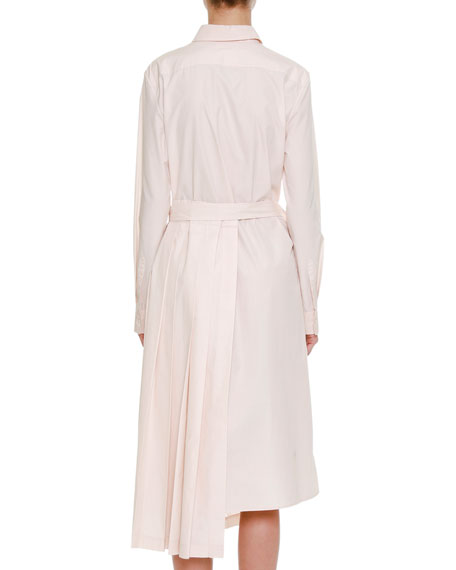 Button-Front Belted Long-Sleeve Shirtdress with Asymmetric Skirt