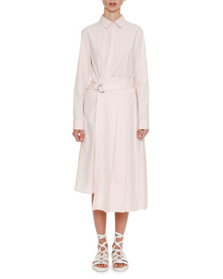 Jil Sander Button-Front Belted Long-Sleeve Shirtdress with