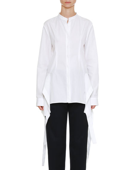 Jil Sander Long-Sleeve Button-Front Oxford Shirt with Wavelike