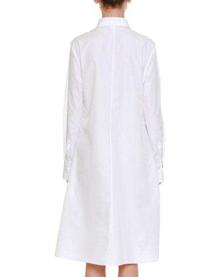 Long-Sleeve Button-Front Shirtdress with Asymmetric Side Pleating