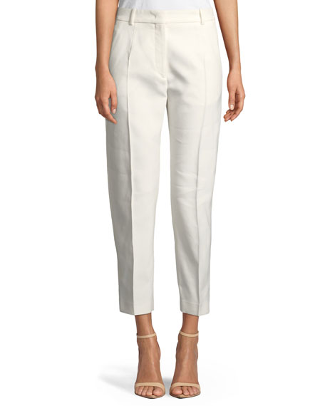 Straight-Leg Mid-Rise Cropped Cotton Pants